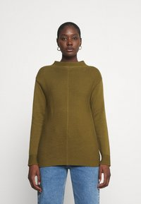 Marc O'Polo - LONGSLEEVE STRUCTURE MIX TURTLENECK - Jumper - olive green - 0