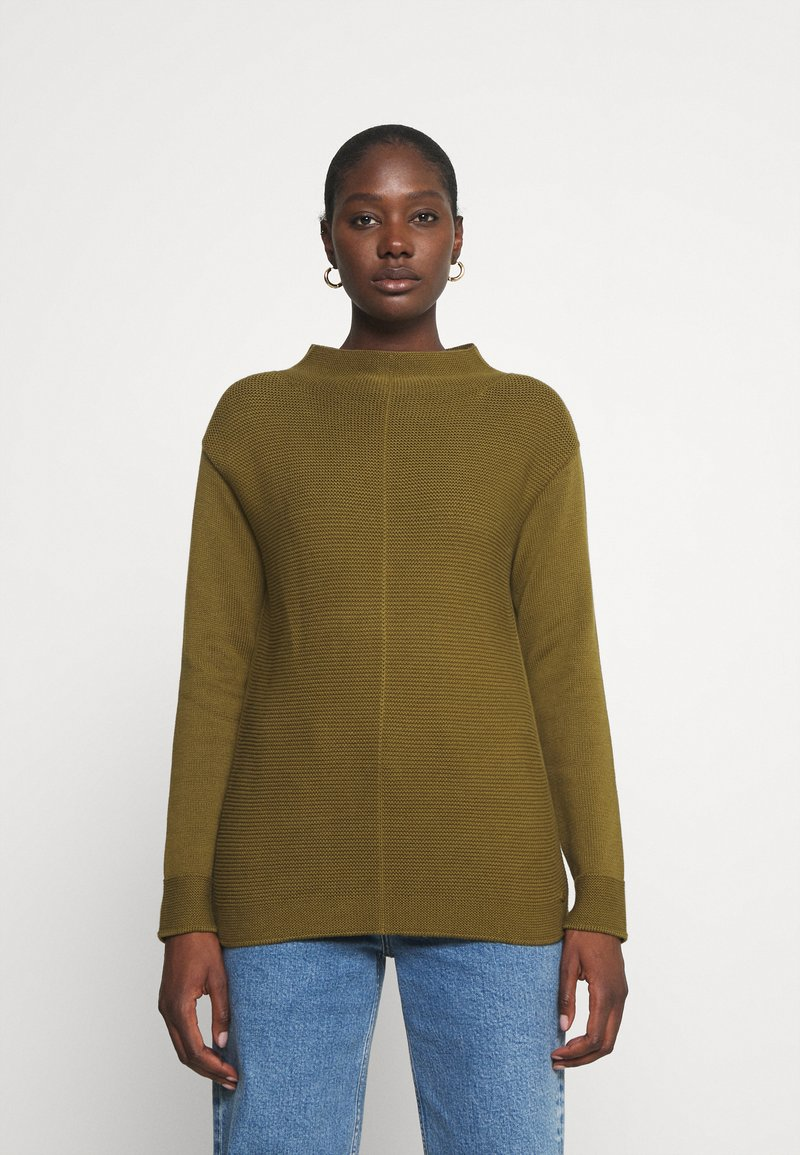 Marc O'Polo - LONGSLEEVE STRUCTURE MIX TURTLENECK - Jumper - olive green
