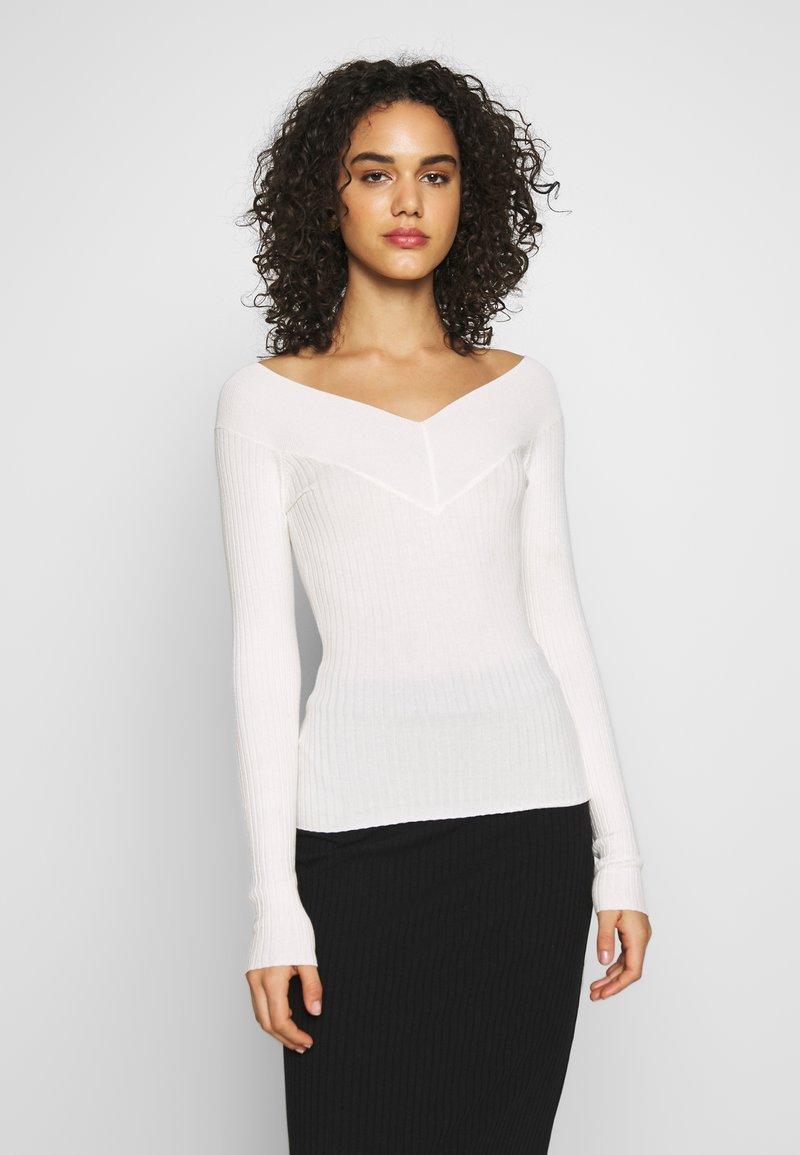 Even&Odd - BARDOT NECKLINE - Sweter - white