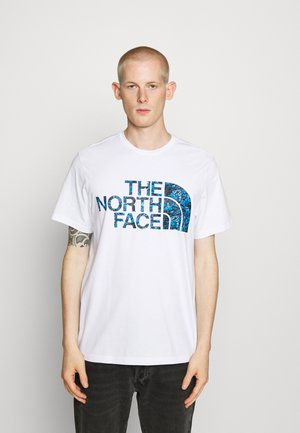 STANDARD TEE - Print T-shirt - white/clear lake blue