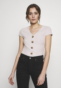 ONLY - ONLNELLA BUTTON - T-shirts med print - pumice stone/melange - 0