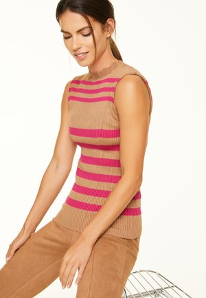 Top - camel multistripes
