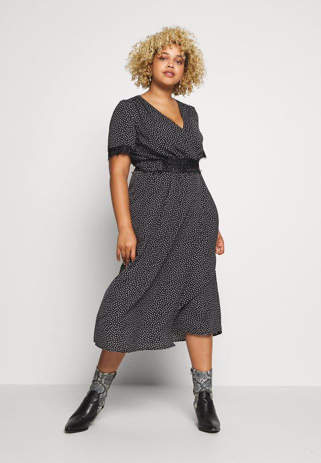 TRIM WRAP DRESS - Day dress - black/white