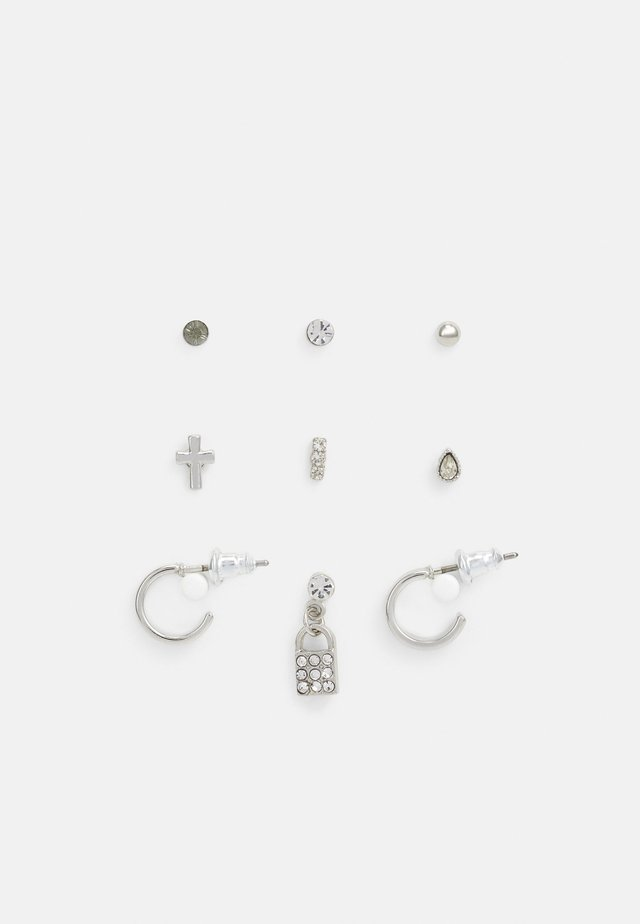 CROSS AND PADLOCK EAR PARTY 9 PACK - Náušnice - silver-coloured