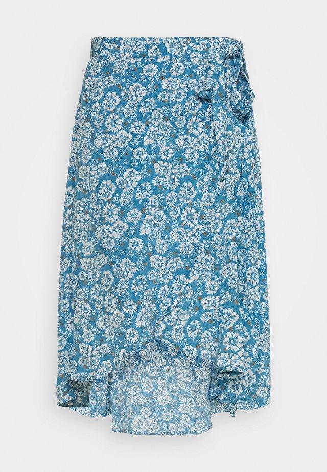 PCMAEVE WRAP MIDI SKIRT - A-line skirt - lichen blue