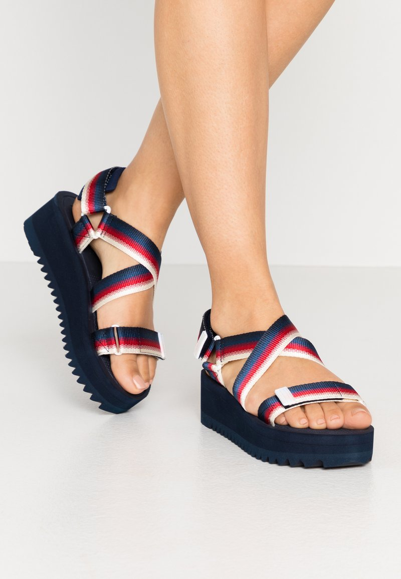 Tommy Jeans - DEGRADE TAPE FLATFORM - Platform sandals - twilight navy