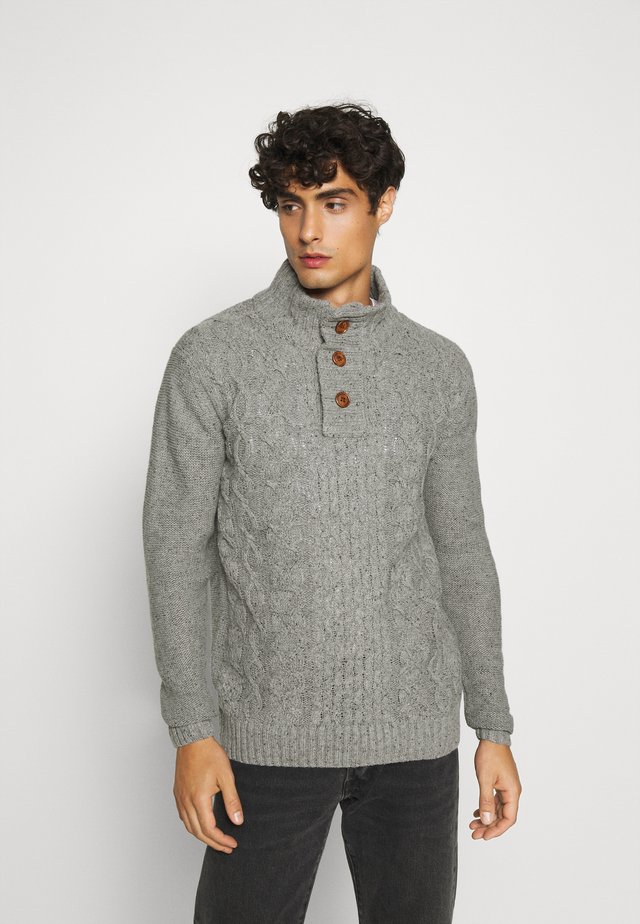 RICH - Stickad tröja - light grey melange