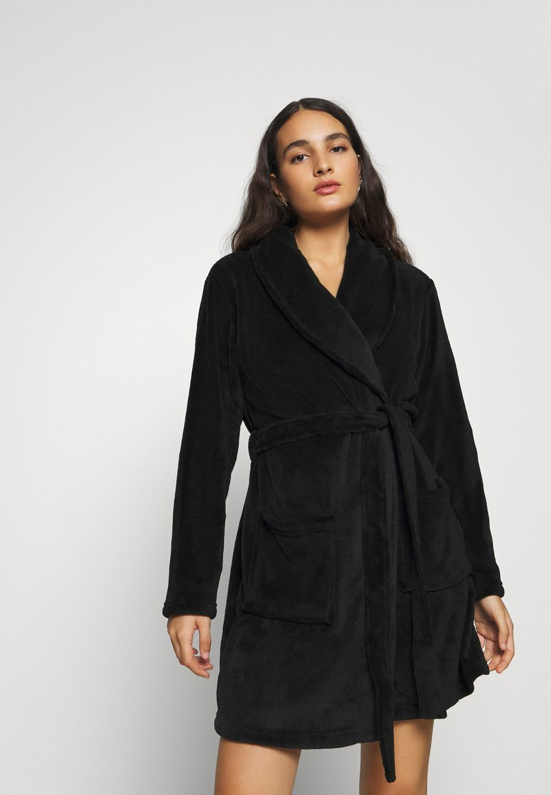 Anna Field - LADIES PLUSH BATHROBE  - Badjas - black