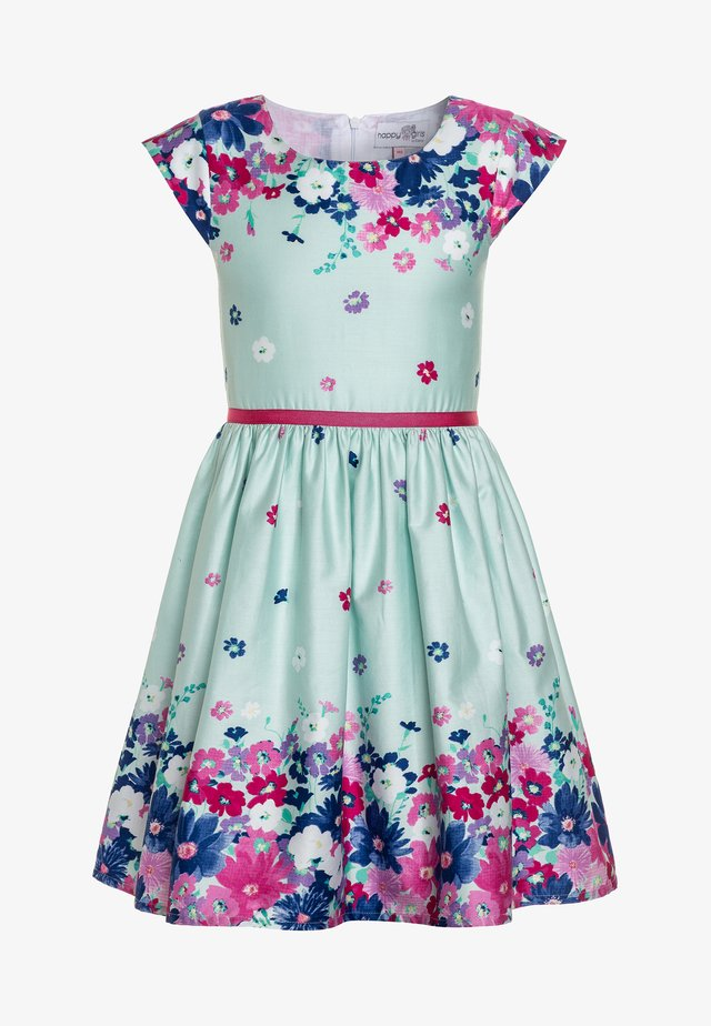 BORDERPRINT MIT BLUMEN - Day dress - ice blue