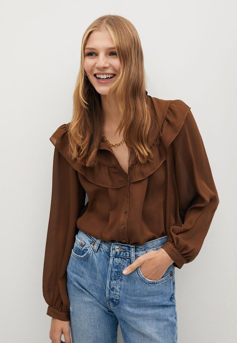 Mango - OSLO - Button-down blouse - russet