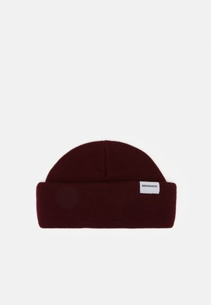 MINI ROLL BEANIE WITH TAB - Berretto - wine