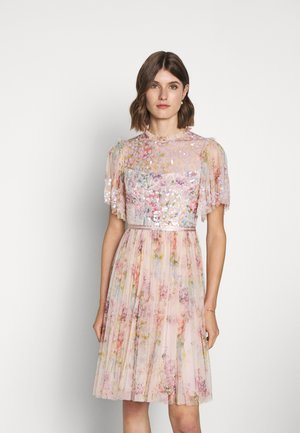 FLORAL DIAMOND BODICE MIDI DRESS - Cocktail dress / Party dress - pink