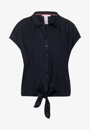 MIT KNOTEN DETAIL - Button-down blouse - blau