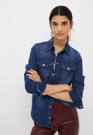 WITH JEWEL BUTTONS - Button-down blouse - blue denim