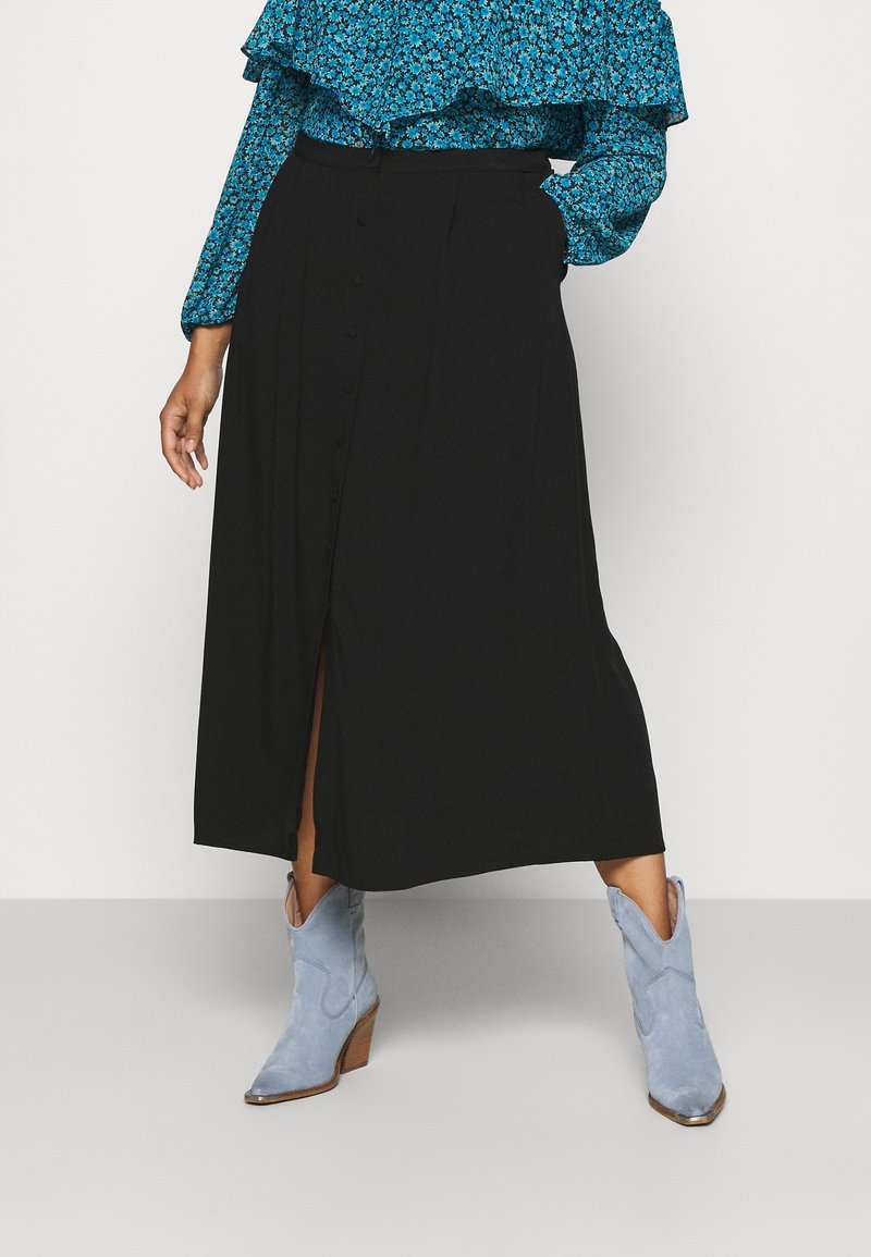 NU-IN - BUTTON UP MIDI SKIRT - A-line skirt - black