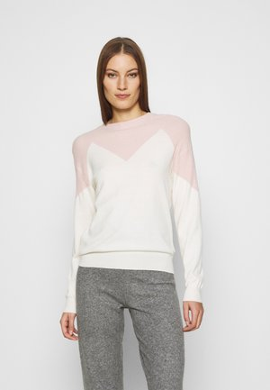 ZIG ZAG BLOCK CREW NECK JUMPER - Svetr - cream