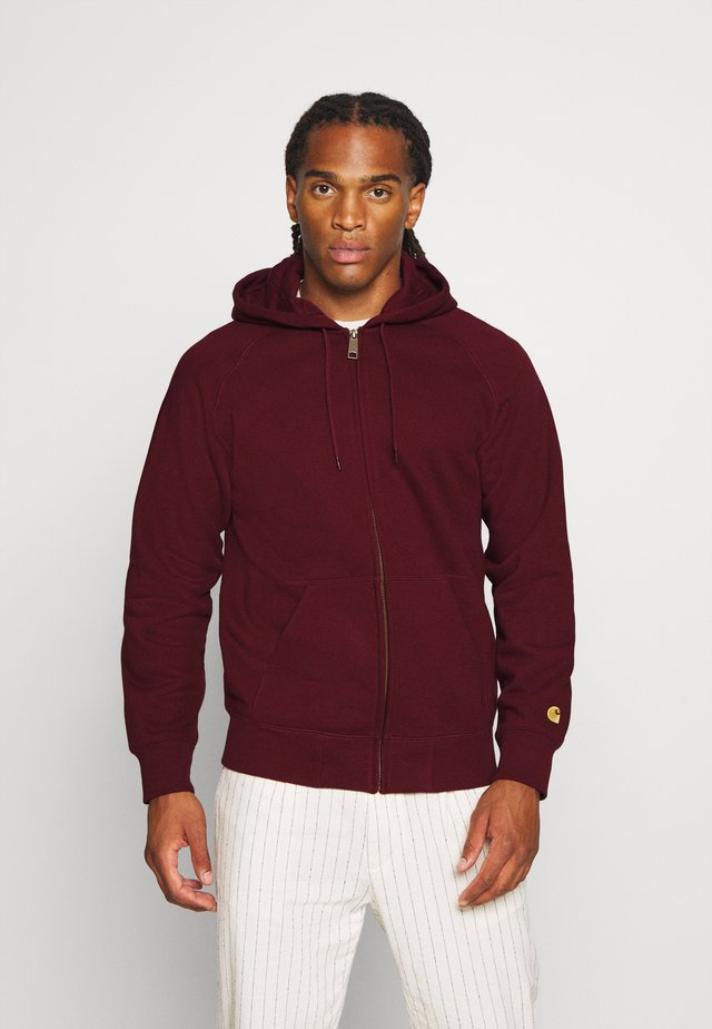 HOODED CHASE - Felpa con cappuccio - bordeaux/gold