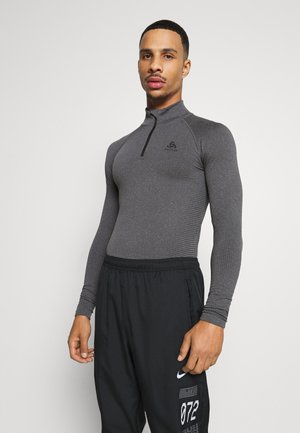 PERFORMANCE WARM ECO TURTLE NECK HALF ZIP - Unterhemd/-shirt - grey melange/black