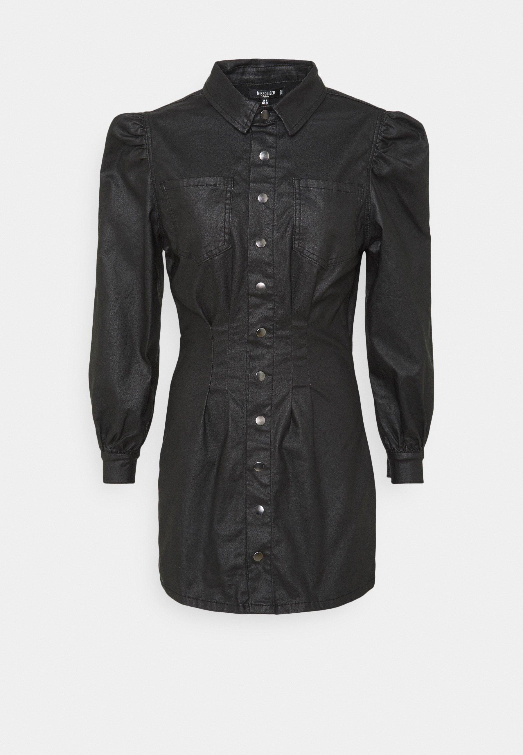 Women COATED CINCHED WAIST DRESS - Shirt dress