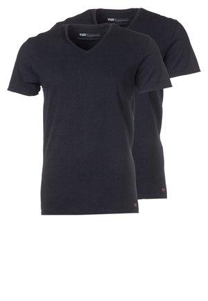 NECK TEE SLIM FIT 2 PACK - T-shirt basic - black