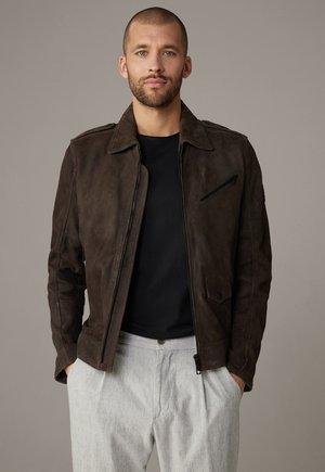 METEOR - Leather jacket - dunkelbraun