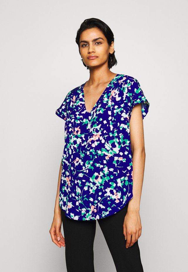 PRINTED VNECK ROLLED CUFF - Blouse - electric blue/multi