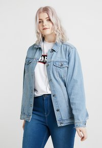 Simply Be - OVERSIZED JACKET - Denim jacket - bleachwash - 0