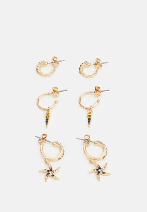 PCBEACHO HOOP EARRINGS 3 PACK - Øredobber - gold-coloured/multi