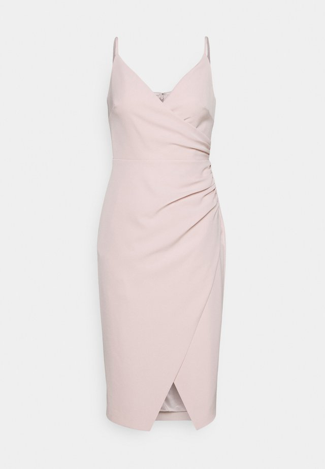 ALEXA RUCHED WRAP PENCIL DRESS - Juhlamekko - blush