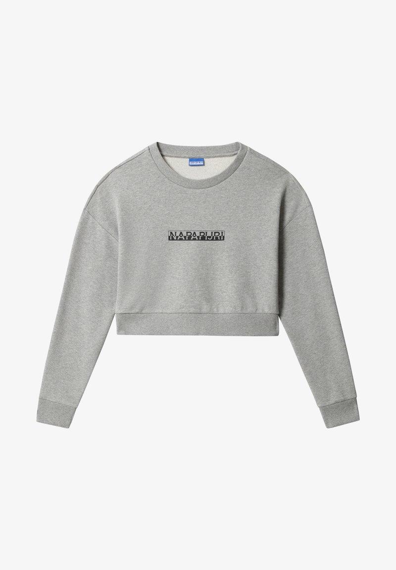 Napapijri - B-BOX CROPPED CREW - Sweatshirt - medium grey melange