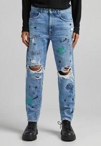 Bershka - STRAIGHT - Relaxed fit jeans - blue denim - 0