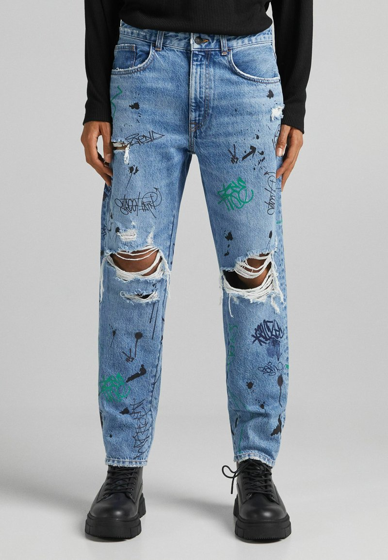 Bershka - STRAIGHT - Relaxed fit jeans - blue denim