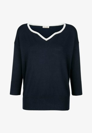 Long sleeved top - navy blue silver gray