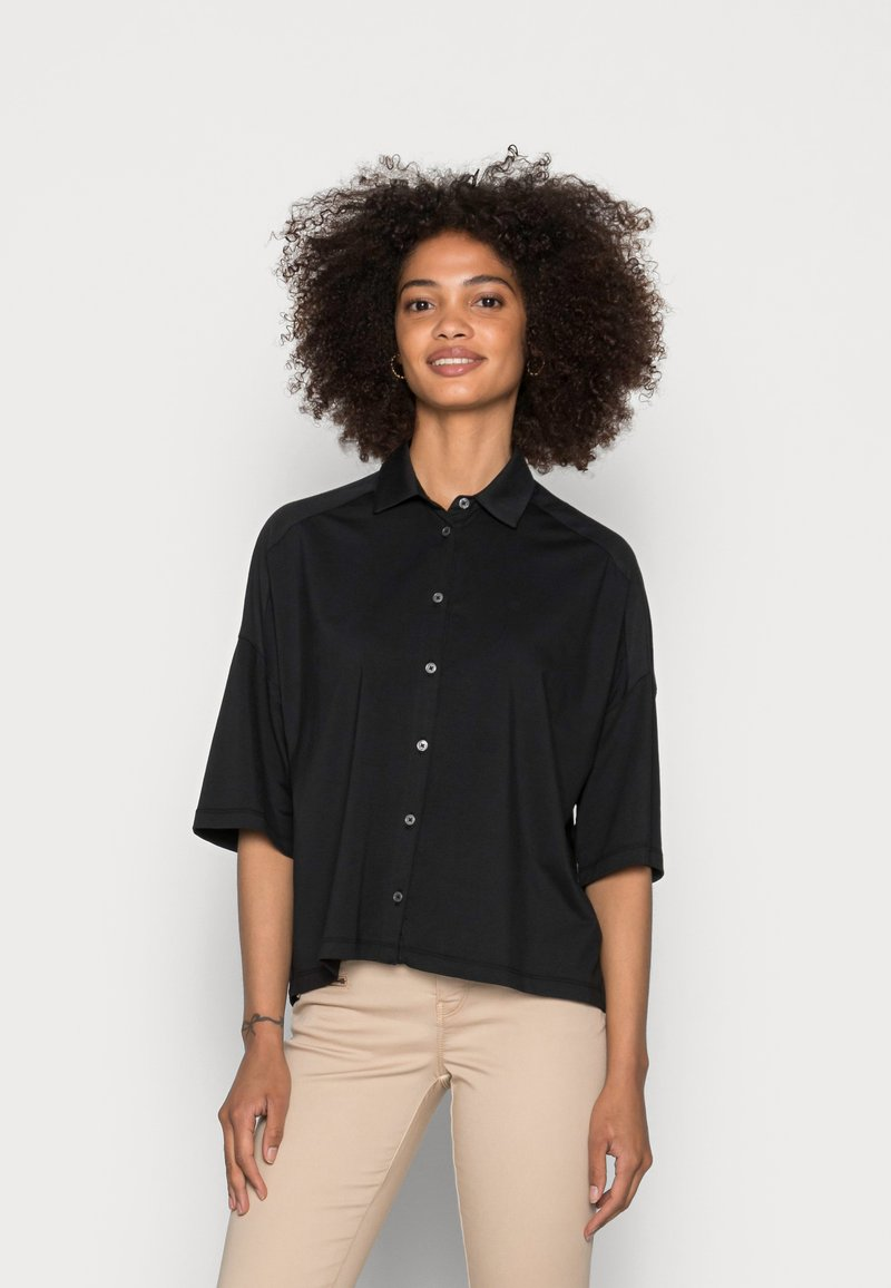 Marc O'Polo - JERSEY BLOUSE  SMALL STAND UP COLLAR BUTTON CLOSURE - Button-down blouse - dusty black