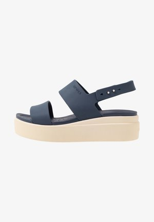 BROOKLYN LOW WEDGE - Platform sandals - navy/stucco