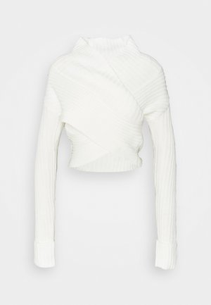 WRAP FRONT JUMPER - Strikkegenser - white