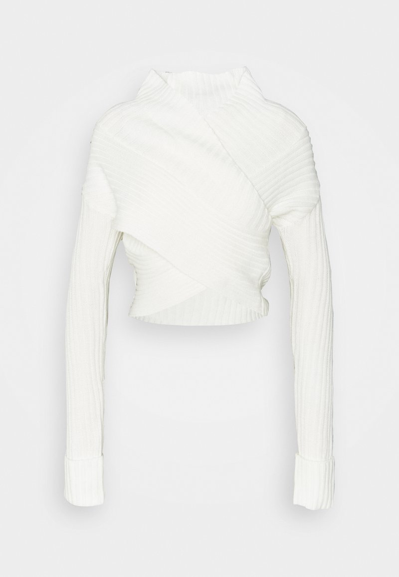 Missguided - WRAP FRONT JUMPER - Jumper - white