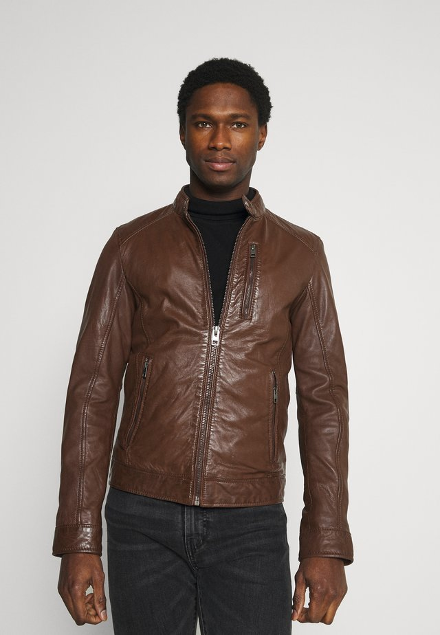 AGENT - Leather jacket - tobacco