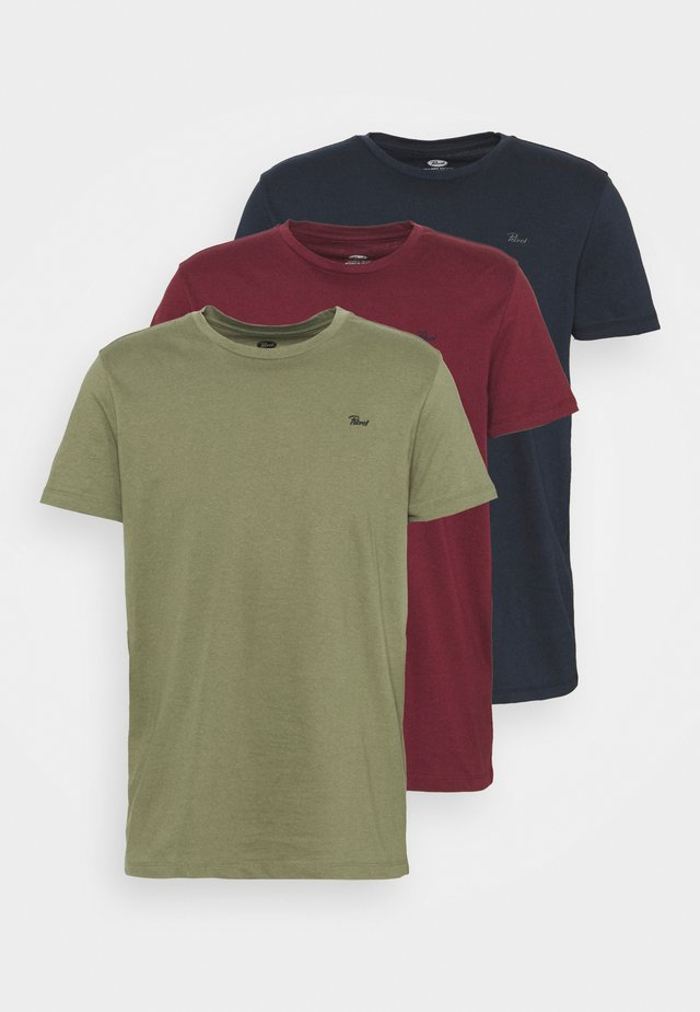 SPECIAL 3 PACK - T-shirt basic - army/burgundy/navy