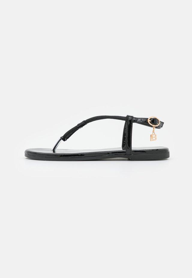 T-bar sandals - mirror black