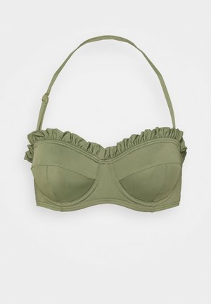 ICONIC SOLIDS RUFFLED UNDERWIRE  - Bikiniyläosa - army green
