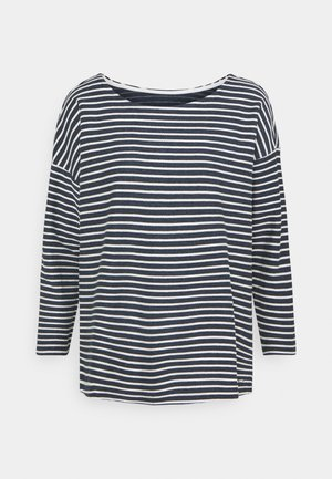 Long sleeved top - blue melange/white