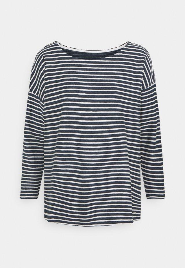 Long sleeved top - blue melange/white