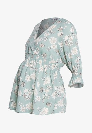 FLORAL PRINT SHIRRED WAIST - Blouse - green