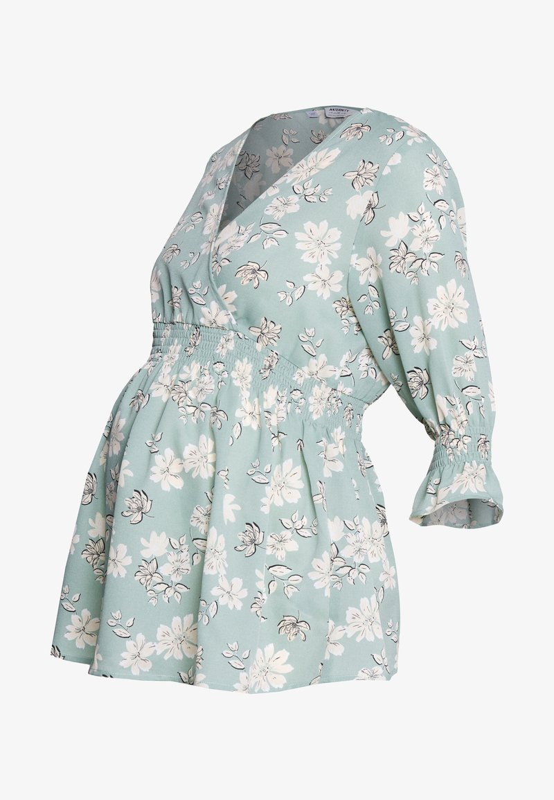 Dorothy Perkins Maternity - FLORAL PRINT SHIRRED WAIST - Bluzka - green