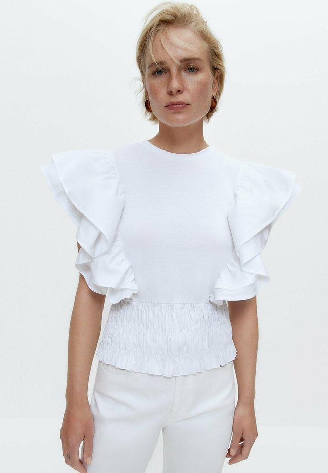 MIT POPELIN-VOLANTS - Blouse - white