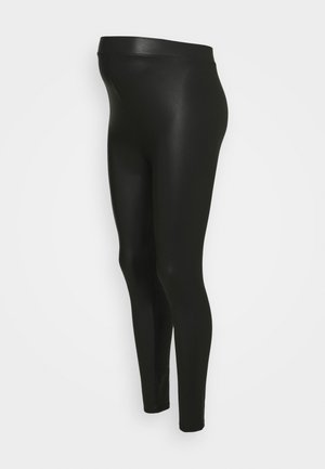 WET LOOK - Legginsy - black