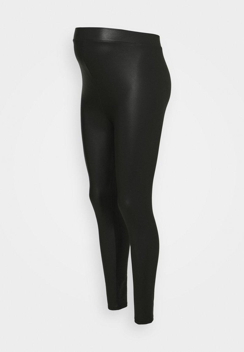 New Look Maternity - WET LOOK - Leggings - black