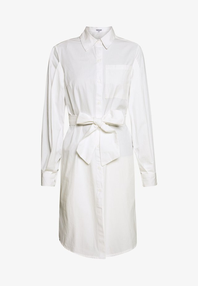VOLUME SLEEVE TIE WAIST DRESS - Robe chemise - white