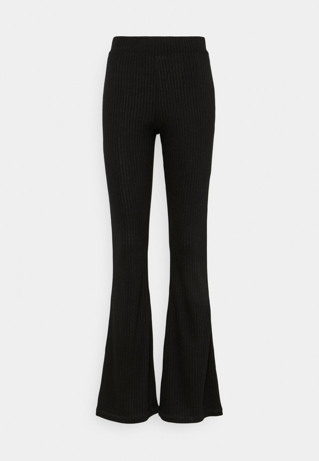 FLARED PANT - Spodnie materiałowe - black